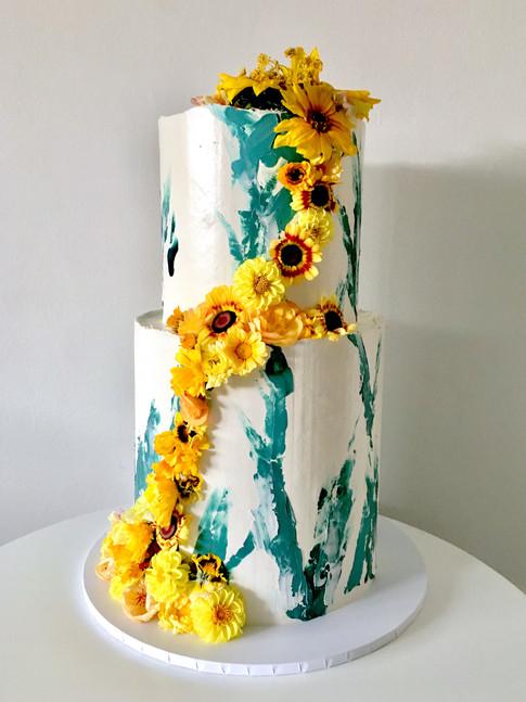 Floral Brushstroke Wedding Cake