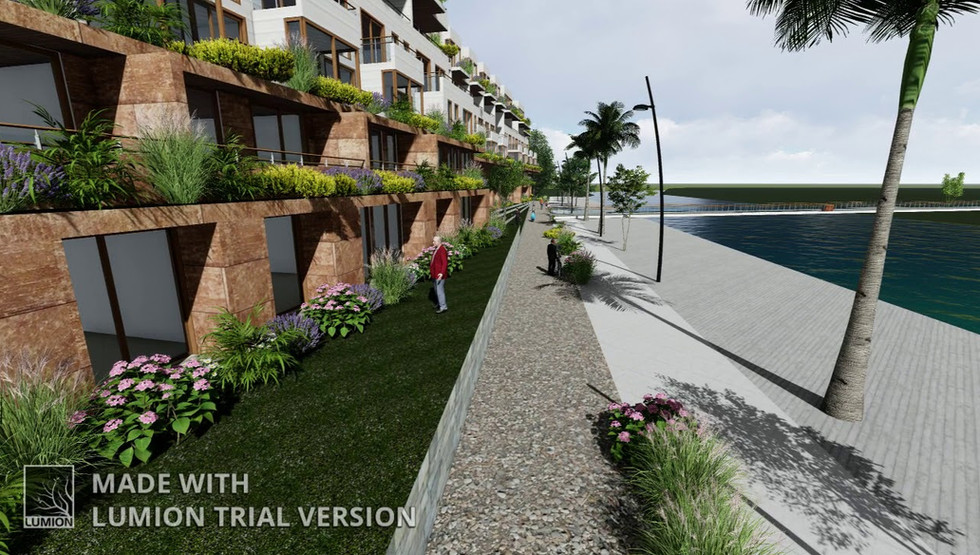 A 236-unit residential development in Marina Del Rey California. The site is a peninsula of land surrounded by Ballona Creek and an overflow wash that empties into the marina harbor.   The site contains a wildlife habitat preserve and the structures are surrounded by a continuous green belt and bike path.  There are 6 levels of stepped-back housing units, each with a large landscaped terrace and water views. Parking is below the residential units. The site is reached by two bridges; both connect the site's green belt and bike paths to a greater complex of bike paths and pedestrian walkways in the area.