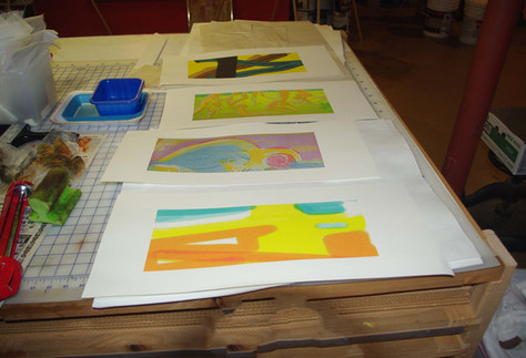 background prints for color etchings, Brookside series.