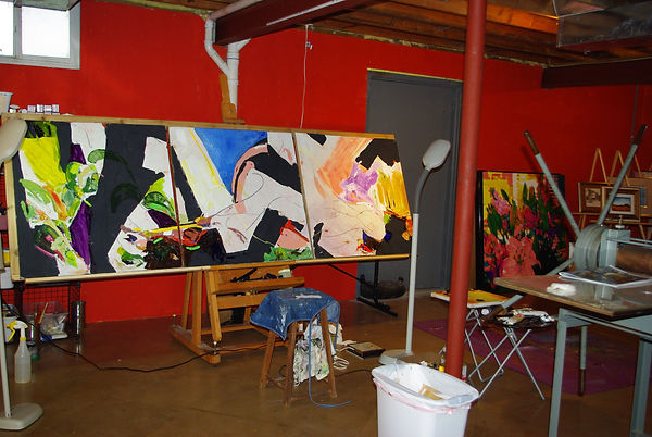 large oil on canvas triptych painting in progress