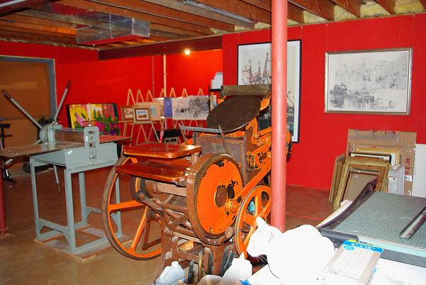 Working studio showing large scale art
