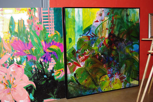4'x4' wall-size focal point oil paintings on canvas