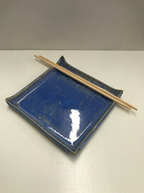 Breaking Blue Square Sushi Plate