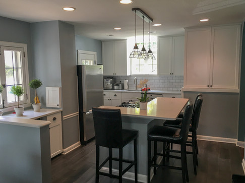 White Shaker Cabinets, 1930's Original Cabinets, Marble Countertops, Subway Tile Backsplash by Cabinetworks Kitchens