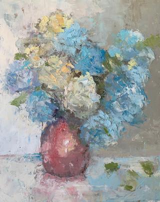 Hydrangeas and Red Vase