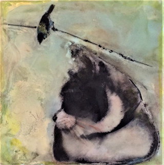 Cat and bird (SOLD)