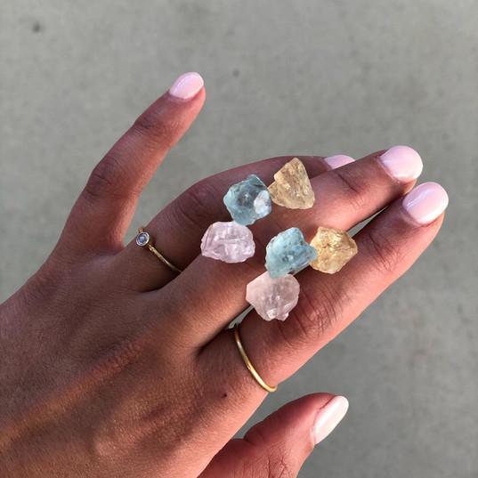 Dobbelrings - rosequartz, aquamarine, ci