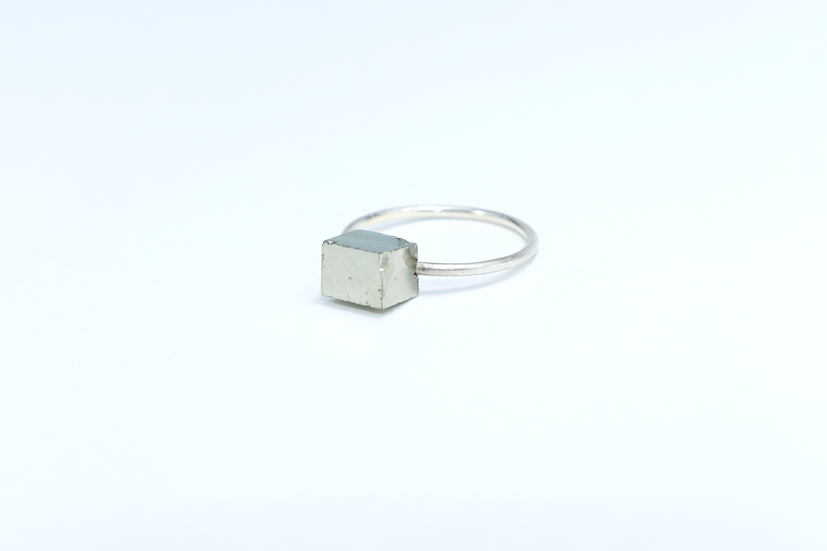 PYRITE Cube ring  - Natural shape - Size 53