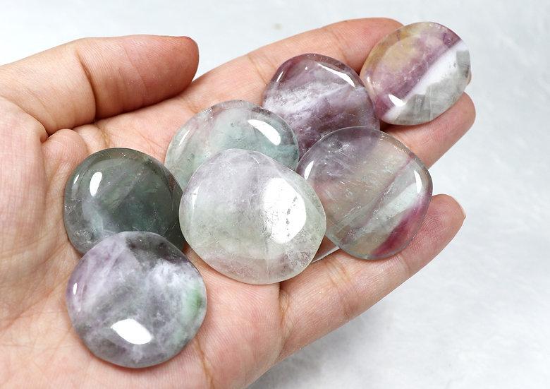 Rainbow Fluorite tumbled - Flat pocket stone- Intuition/focus/organisation