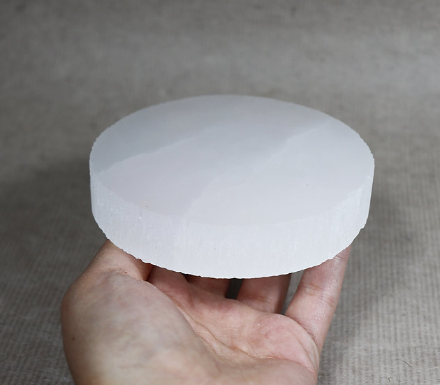 Selenite plate / disk. for charging and cleansing crystals