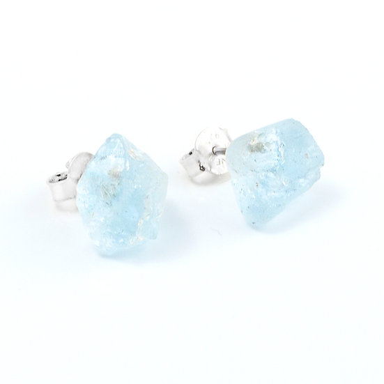 Piece of earth- Studs. Aquamarine. Stone for expression and flow.