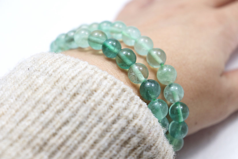 Green Fluorite tumbled bracelet - Stone of focus and clarity -