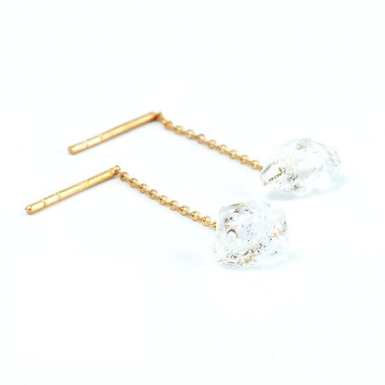 Piece of earth -Hanging ear chain Herkimer Diamond Studs