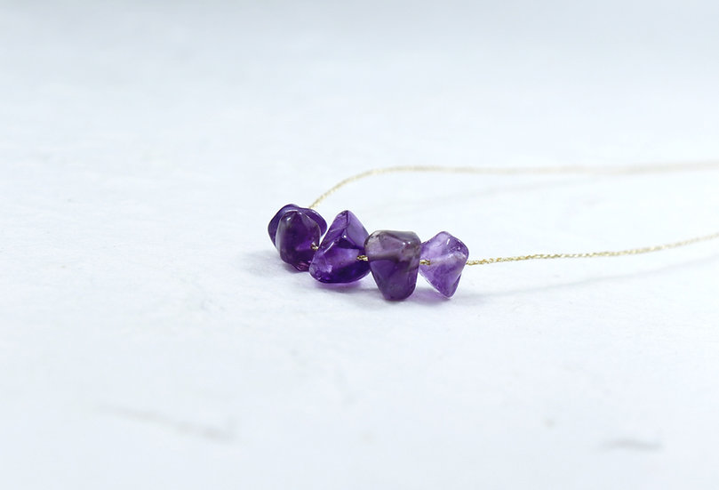 Amethyst Necklace - Minimal thread -