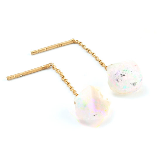 Piece of earth - Opal chain hanging earpiece