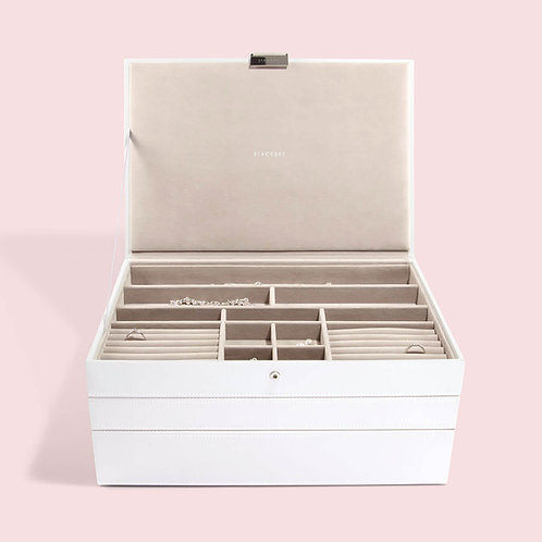 Supersize Set of 3 Jewellery Box - White