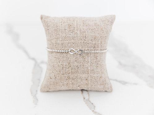 Silver Bead Bracelet With Infinity Charm