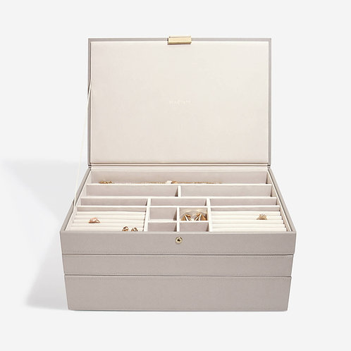 Supersize Set of 3 Jewellery Box - Taupe