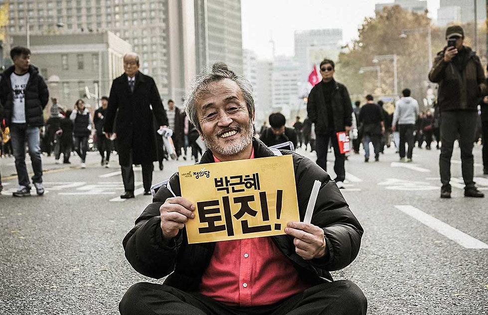 Korean protesters in Seoul.