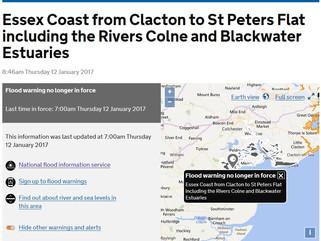 Essex Coast flood warning no longer in force