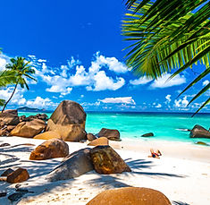 Typical beach in Seychelles with granite
