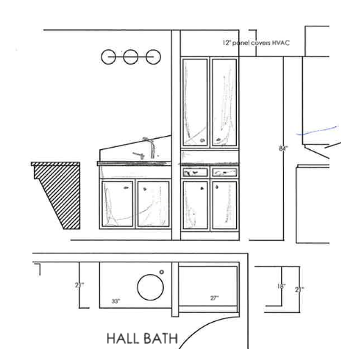 hall bath cabinetry