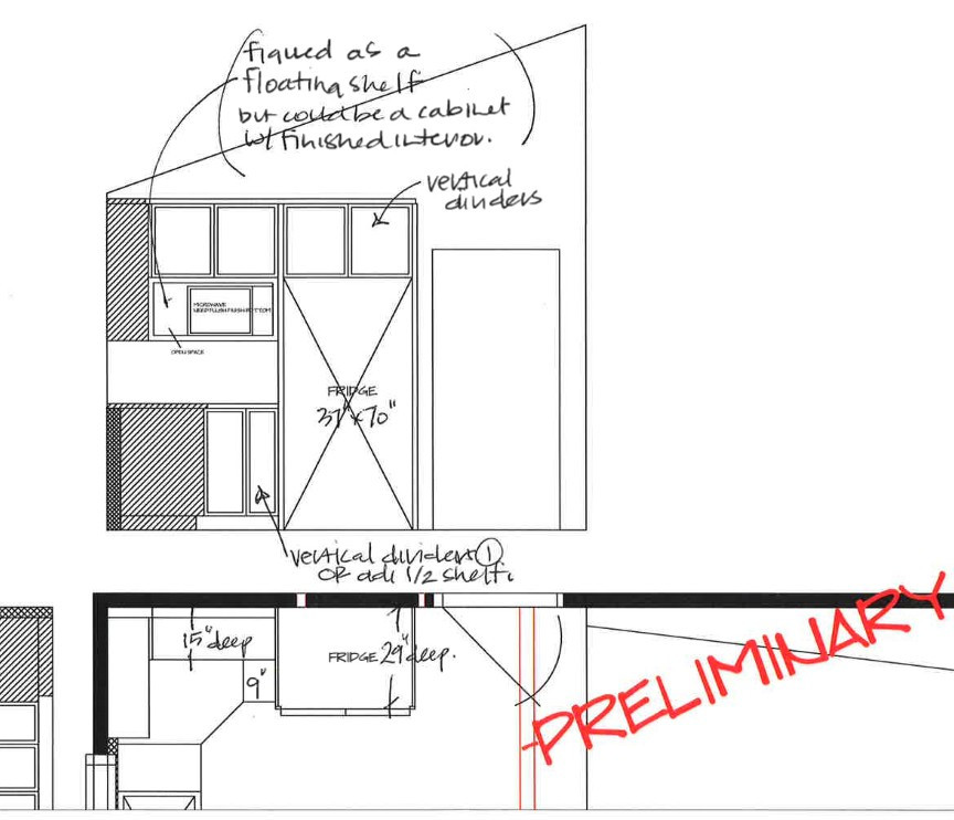 selected fridge wall elevation and detai
