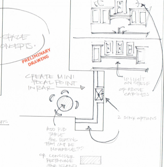 proposed cabinetry and space planning