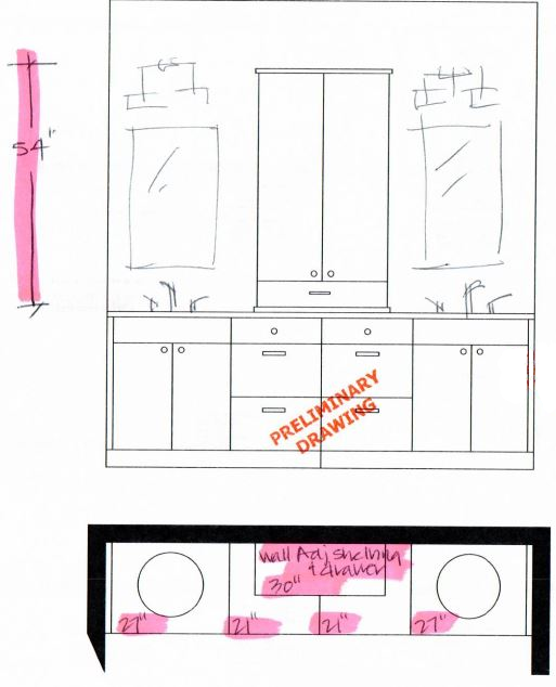 Master Bath Elevation and Plan