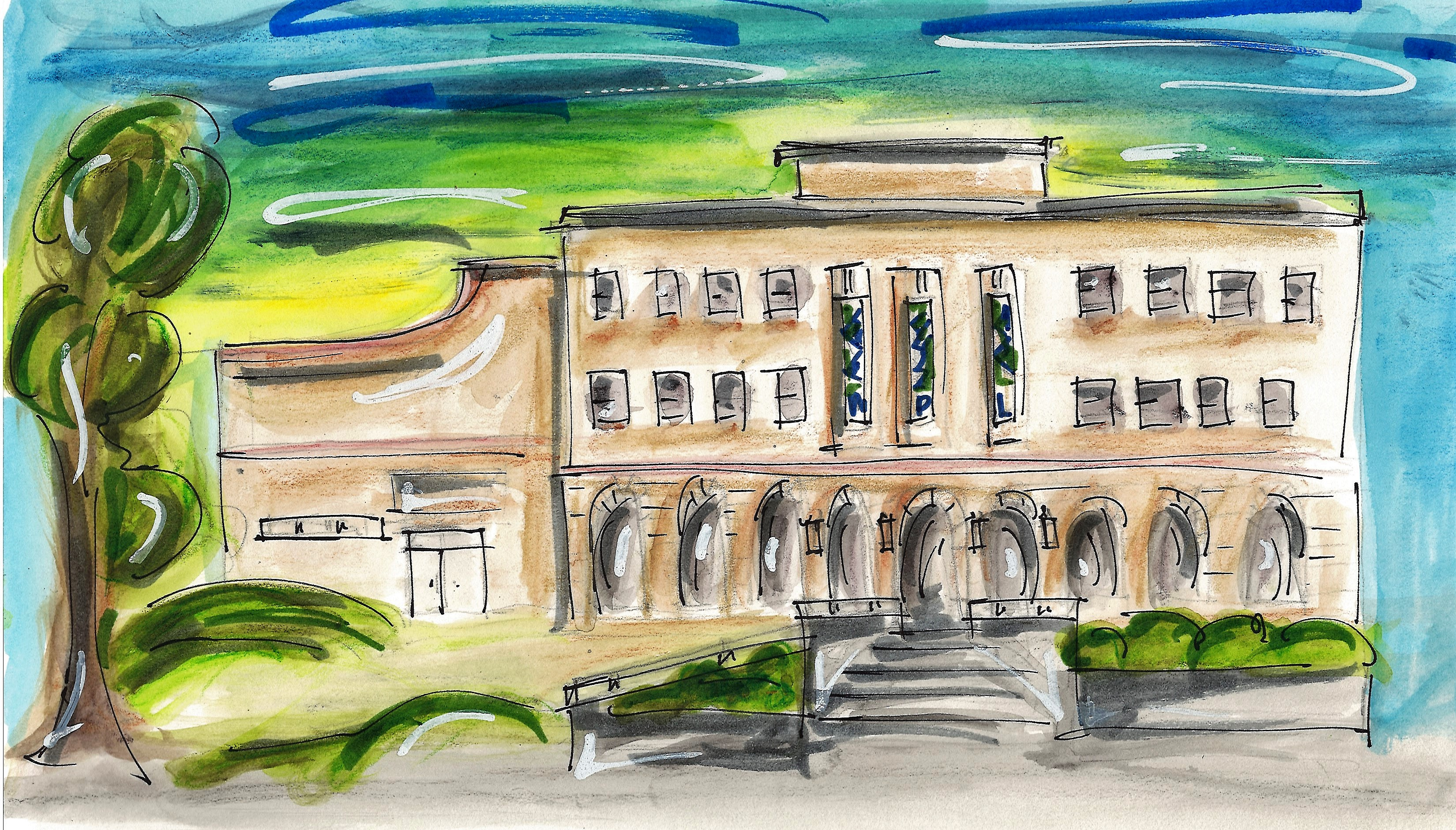 Waterloo Public Library watercolor