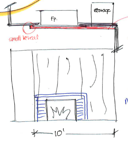 fireplace wall re-design notes