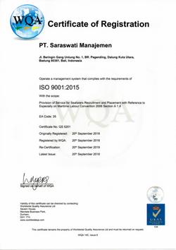 WQA Certificate of Registration
