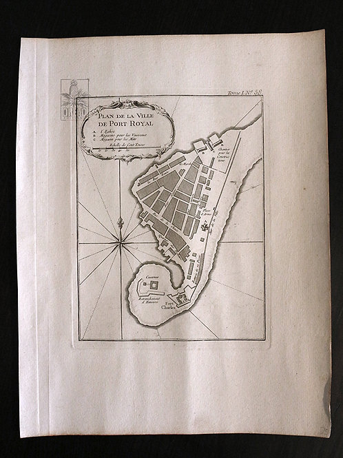 Rare. Plan de Port Royal de 1764.