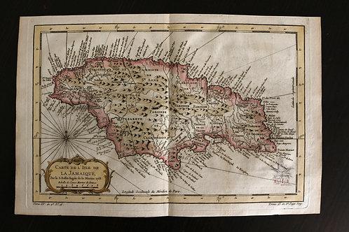 BELLIN, Carte de la Jamaïque (1758). MAGNIFIQUE !