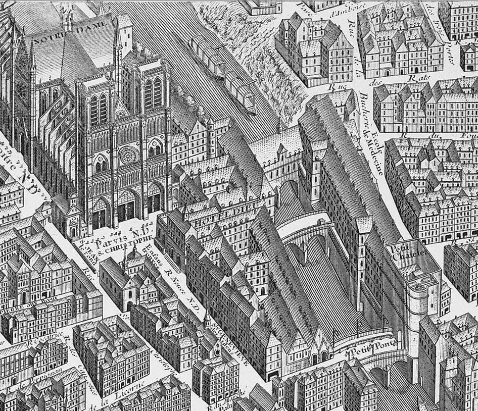 Sur ce gros-plan du plan de Turgot (joint à notre livre), on distingue l'Hôtel-Dieu, en face de Notre-Dame, sur l'île St. Louis.