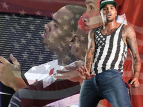 Chris Brown Argues With Fan at Charity Hoops Game; Sits During  National Anthem.