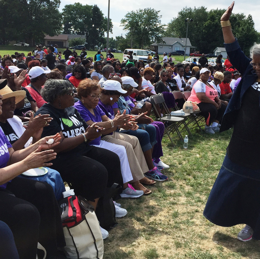 Mother Dorothy Williams, mother of Lady Victory Vernon danced in praise with fellow church members at the community event.
