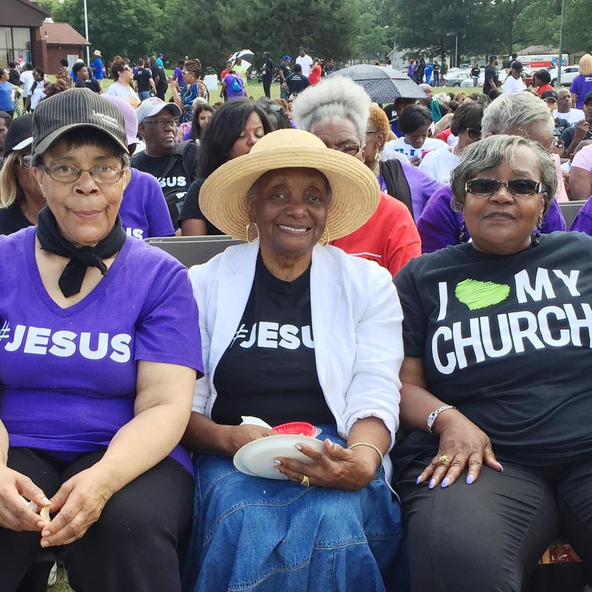 "They call themselves ""Seasoned Saints"" of The Word Church: Karline Bonner, Annie Godd, Ruby Nelson, Rebecca Shambley and Hrica Haynes"