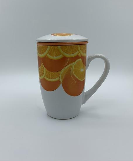 Caneca de Porcelana com infusor laranjas
