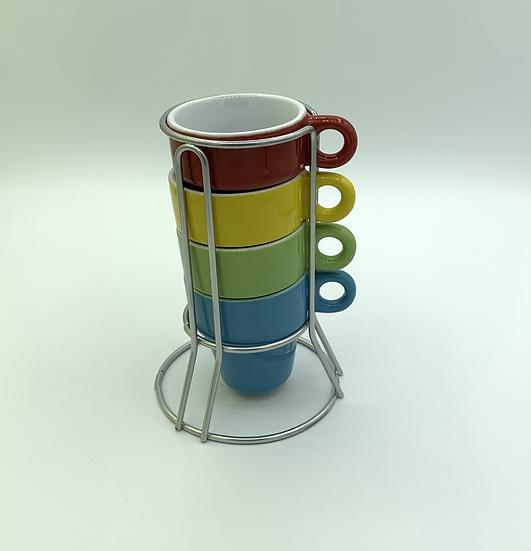 Conjunto 4 xícaras com suporte