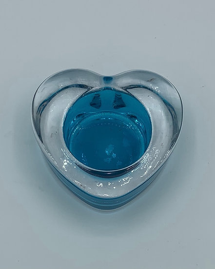 Castiçal coração azul