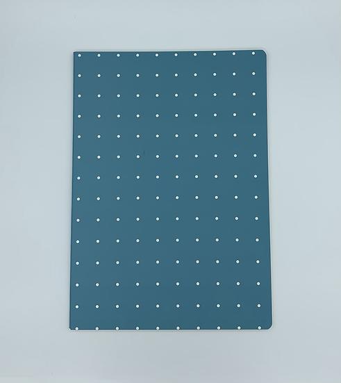 Caderno bolinhas azul