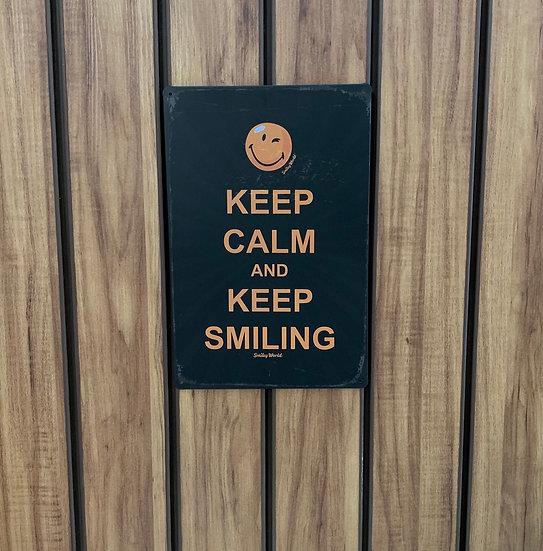 Placa decorativa Keep Calm Smiling