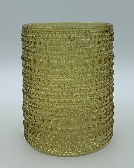 Castiçal de vidro verde oliva