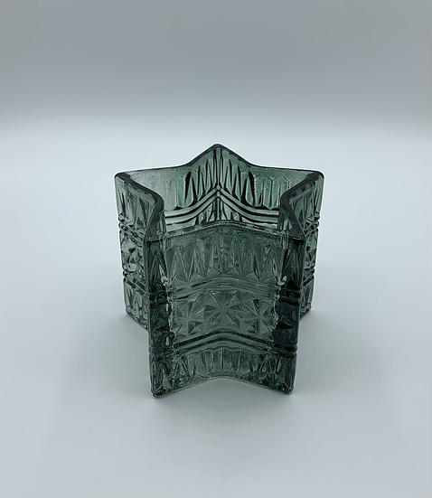 Castiçal de vidro estrela verde