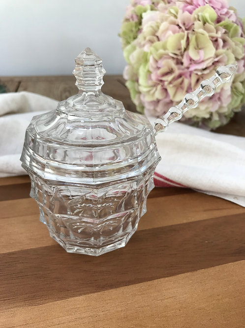 Clear Cut Glass Condiment Dish Sugar Bowl Preserve Jar