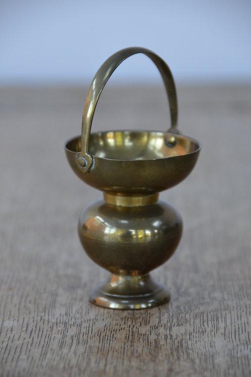 Vintage Brass Pot Bud Vase Candle Holder with Handle