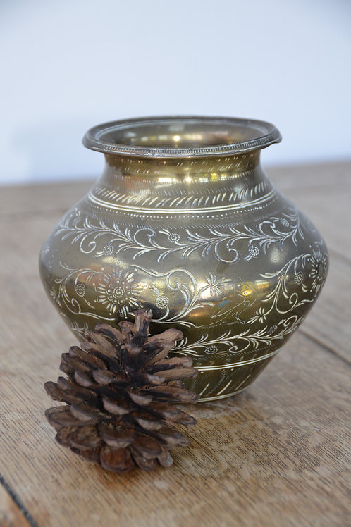 Floral Bird Etched Islamic/Middle Eastern Brass Pot