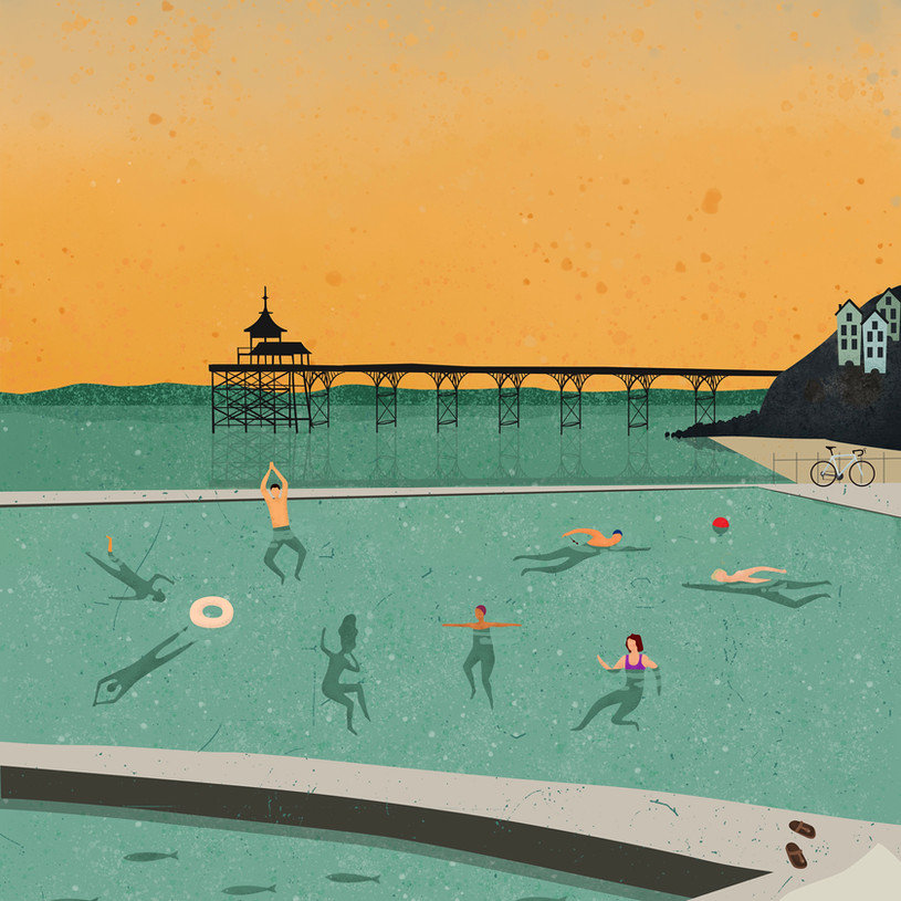 Sunset Swimmers Print