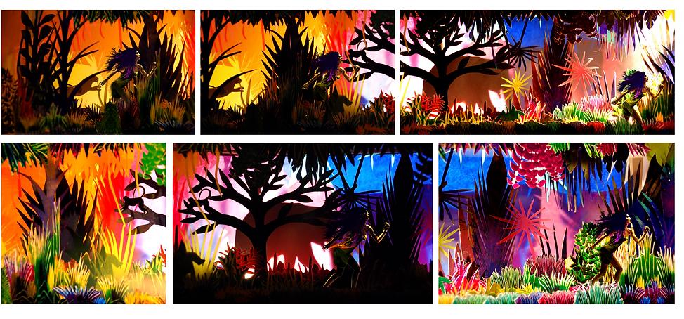Storyboard photographie maquette jungle végétal papier couleurs